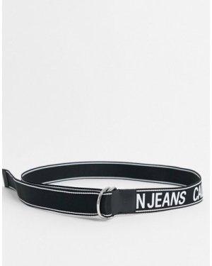 Calvin Klein Jeans double D ring tape logo belt 40mm-Black