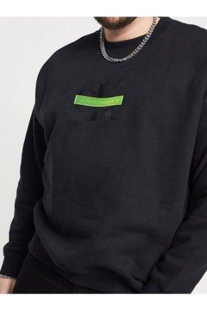 Calvin Klein Jeans Big & Tall neon bar monogram logo sweatshirt in black