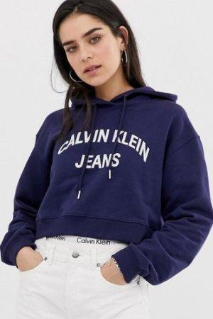 Calvin Klein Jeans authentic logo hoodie-Blue