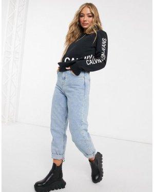 Calvin Klein Jeans logo crew neck sweater in black-White