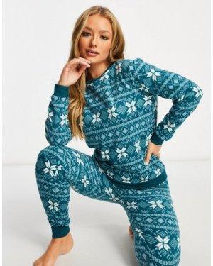 Hunkemoller fairisle printed micro fleece pyjama set in teal-Green