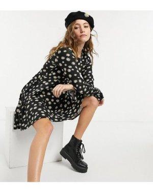 Wednesday's Girl mini skater dress in daisy print-Black