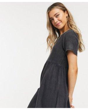 Wednesday's Girl mini smock dress in denim-Black