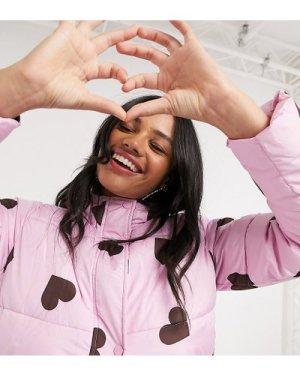 Wednesday's Girl longline padded jacket in heart print-Purple