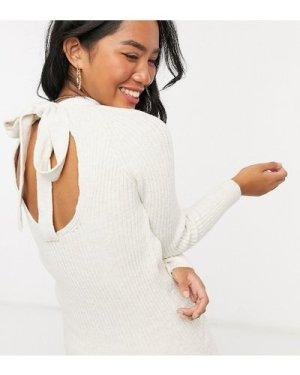 Miss Selfridge Petite bow back knitted mini dress in oatmeal-Cream