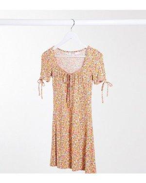 Miss Selfridge Petite ditsy mini dress in coral-Pink