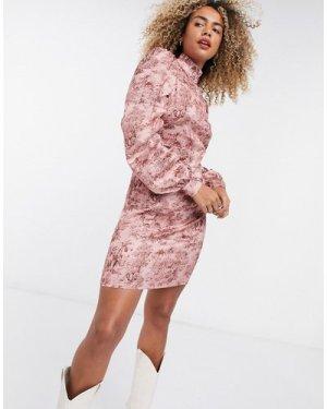 Object high neck sleeve detail dress in art print-Pink