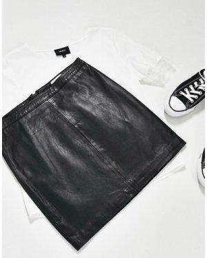 Object leather mini skirt in black