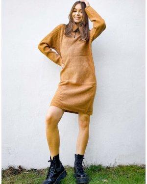 Object zip detail jumper dress in brown