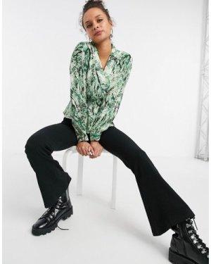 Object wrap detail blouse in green snake print-Multi