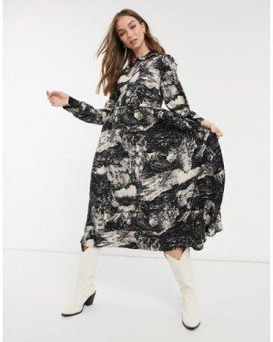 Object midi shirt dress in landscape print-Multi