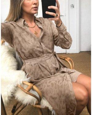 Object tie waist shirt dress in beige leopard print