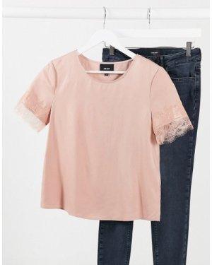 Object Eileen lace trim slinky top in pink