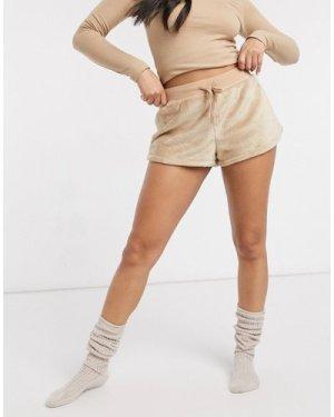 Lindex fleece lounge short in beige