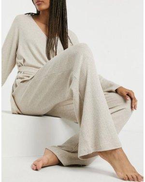 Lindex Fiki eco viscose rib wide leg lounge pant in beige
