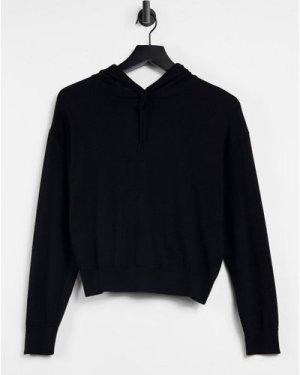 Lindex Angie premium merino wool slouchy hoodie in black