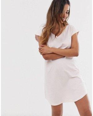 Lindex Edit organic cotton stripe pyjama big t nightie in light pink
