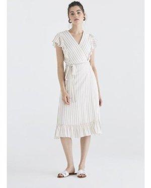Brighton striped wrap dress