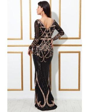 Goddiva Sequin Embellished Evening Maxi Dress - Black