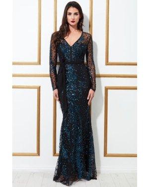 Goddiva Spread On Sequin Maxi With V Neck Dress - Indigo
