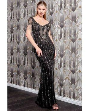 Danaya Hand Embellished Shoulder Fringe Maxi Dress - Black