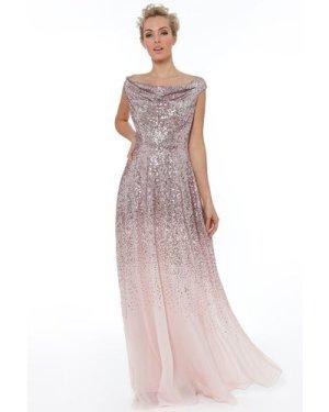 Pleated Bodice Sequin & Chiffon Maxi Dress - Rose