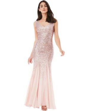 Sequin and Chiffon Maxi Dress - Rose
