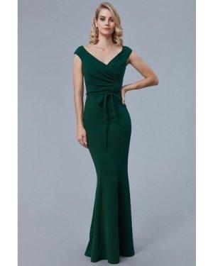 Goddiva Pleated Maxi Dress with Tie Detail - Emerald
