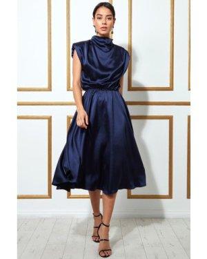 Goddiva High Collar Satin Midi Dress with Shoulder Pads - Navy