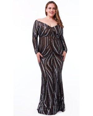 Goddiva Plus Off The Shoulder V Neck Maxi Dress - Black