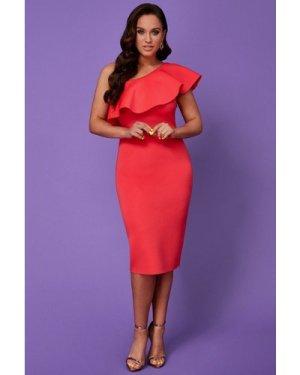 Vicky Pattison – One Shoulder Frill Neck Dress - Hot Pink