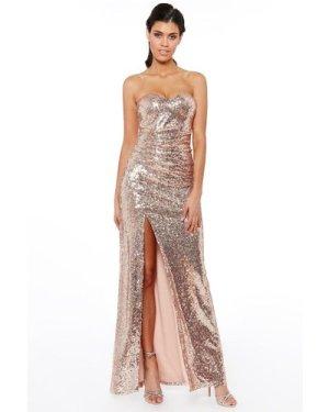 Strapless Sequin Split Maxi Dress - Champagne