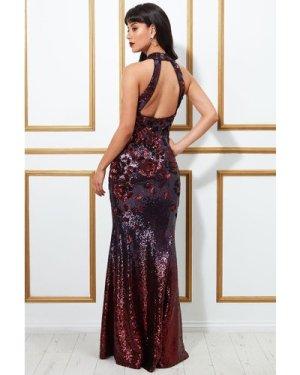 Goddiva Sequin Embroidered Halterneck Evening Maxi Dress - Wine