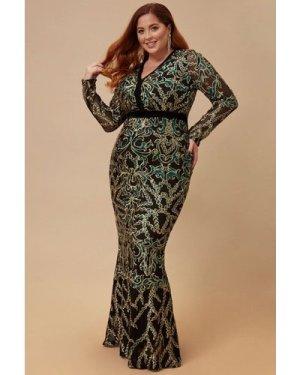 Goddiva Plus Sheer Sleeve Sequin Maxi Dress - Emerald