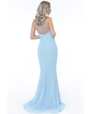 High Neck Embellished Maxi Dress - Powderblue