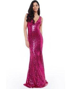 Sequined Low V Neck Maxi Dress - Cerise
