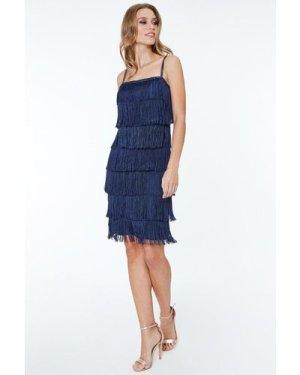 Goddiva Flapper Fringe Mini Dress - Navy