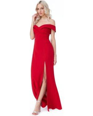 Goddiva Bardot Front Split Maxi - Red