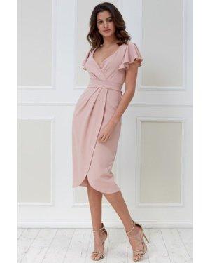 Goddiva Pleated Wrap Midi Dress with Flared Sleeves - Blush