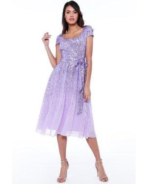 Sequin & Chiffon Belted Midi Dress - Lavender