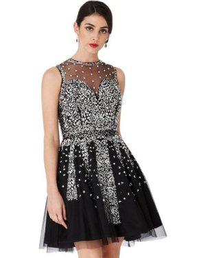 Hand Embellished Skater Dress - Black