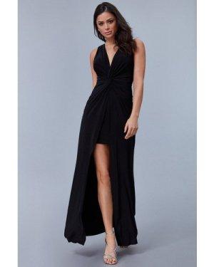 Goddiva Knot Front Sleeveless Maxi Dress - Black