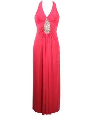 Evening Maxi Dress with Teardrop Diamante Detail - Pink
