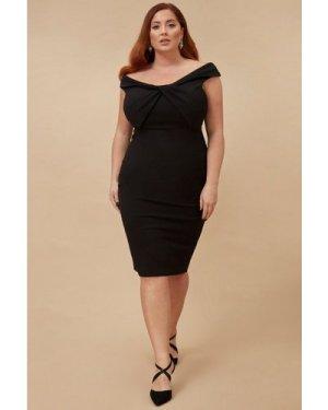 Goddiva Plus Front Twist Bardot Midi Dress - Black