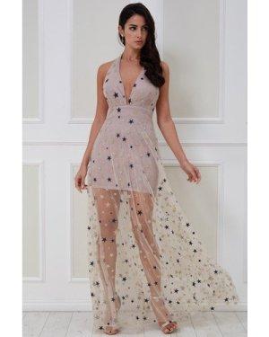 Goddiva Star Mesh Halter Neck Maxi Dress - Champagne