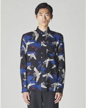 Bellfield Kyoto Long Sleeve Japanese Printed Mens Shirt | Black, Small