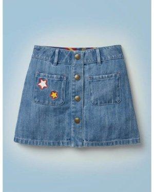 Harry Pocket Denim Skirt Denim Girls Boden, Denim