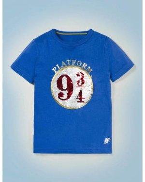 Platform 9¾ Sequin T-shirt Blue Boys Boden, Blue