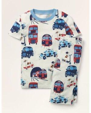 Cosy Short John Pyjamas Multi Boys Boden, Ivory