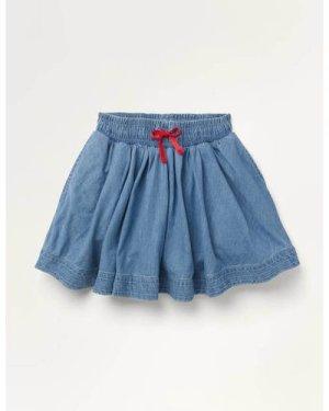 Woven Twirly Skirt Blue Boden, Denim